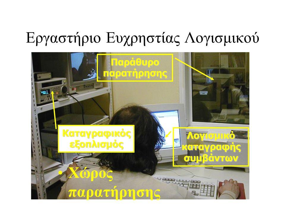 Εργαστήριο Ευχρηστίας Λογισμικού •Χώρος παρατήρησης Καταγραφικός εξοπλισμός Λογισμικό καταγραφής συμβάντων Παράθυρο παρατήρησης