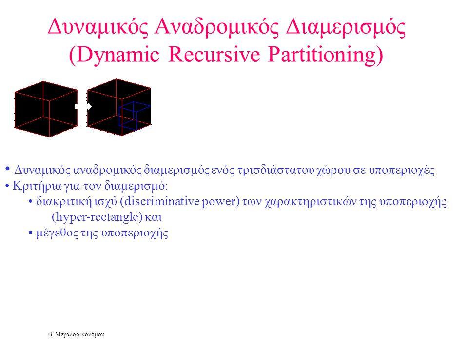 Β. Μεγαλοοικονόμου Δυναμικός Αναδρομικός Διαμερισμός (Dynamic Recursive Partitioning) • Δυναμικός αναδρομικός διαμερισμός ενός τρισδιάστατου χώρου σε