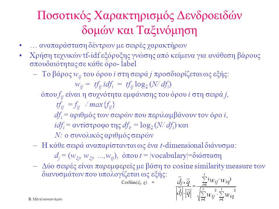Β. Μεγαλοοικονόμου Ποσοτικός Χαρακτηρισμός Δενδροειδών δομών και Ταξινόμηση •… αναπαράσταση δέντρων με σειρές χαρακτήρων •Χρήση τεχνικών tf-idf εξόρυξ