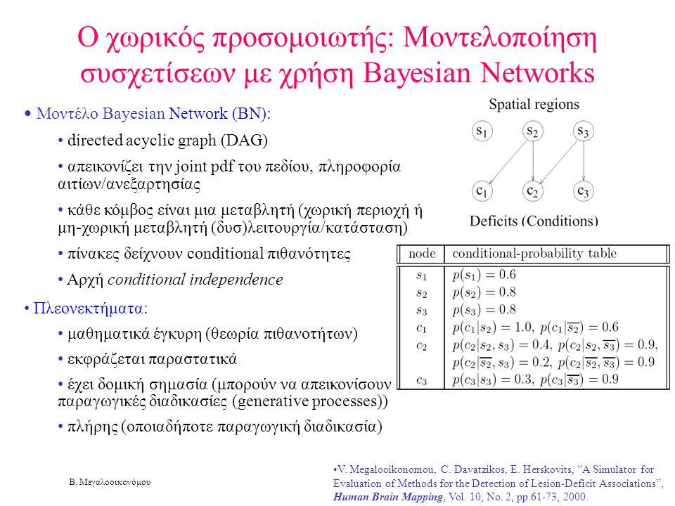 Β. Μεγαλοοικονόμου Ο χωρικός προσομοιωτής: Μοντελοποίηση συσχετίσεων με χρήση Bayesian Networks • Μοντέλο Bayesian Network (BN): • directed acyclic gr