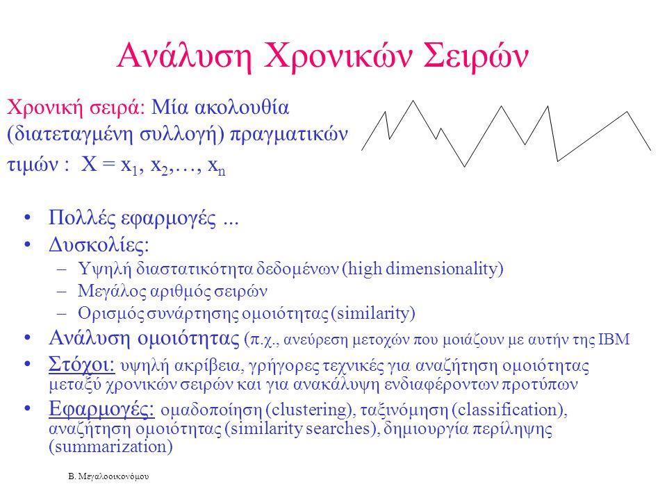 Β. Μεγαλοοικονόμου Ανάλυση Χρονικών Σειρών •Πολλές εφαρμογές... •Δυσκολίες: –Υψηλή διαστατικότητα δεδομένων (high dimensionality) –Μεγάλος αριθμός σει