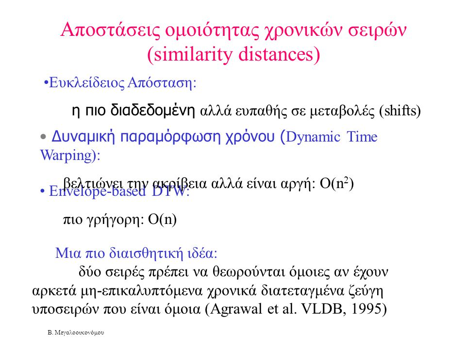 Β. Μεγαλοοικονόμου Αποστάσεις ομοιότητας χρονικών σειρών (similarity distances) Μια πιο διαισθητική ιδέα: δύο σειρές πρέπει να θεωρούνται όμοιες αν έχ