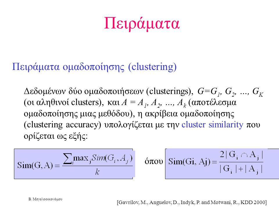 Β. Μεγαλοοικονόμου Πειράματα ομαδοποίησης (clustering) Δεδομένων δύο ομαδοποιήσεων (clusterings), G=G 1, G 2, …, G K (οι αληθινοί clusters), και A = A