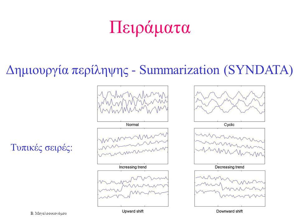 Β. Μεγαλοοικονόμου Πειράματα Δημιουργία περίληψης - Summarization (SYNDATA) Τυπικές σειρές: