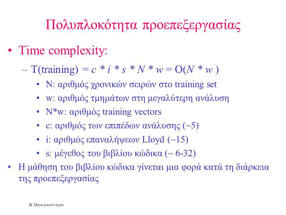 Β. Μεγαλοοικονόμου Πολυπλοκότητα προεπεξεργασίας •Time complexity: –T(training) = c * i * s * N * w = O(N * w ) • N: αριθμός χρονικών σειρών στο train