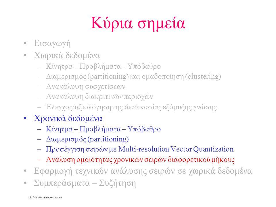 Β. Μεγαλοοικονόμου Κύρια σημεία •Εισαγωγή •Χωρικά δεδομένα –Κίνητρα – Προβλήματα – Υπόβαθρο –Διαμερισμός (partitioning) και ομαδοποίηση (clustering) –