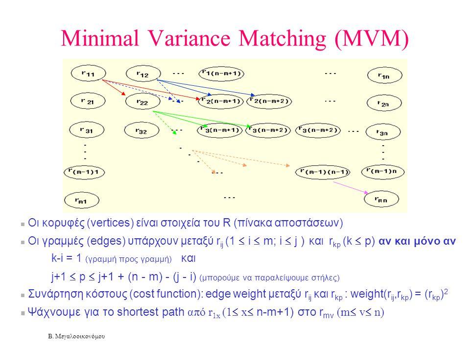 Β. Μεγαλοοικονόμου Minimal Variance Matching (MVM)  Οι κορυφές (vertices) είναι στοιχεία του R (πίνακα αποστάσεων)  Οι γραμμές (edges) υπάρχουν μετα