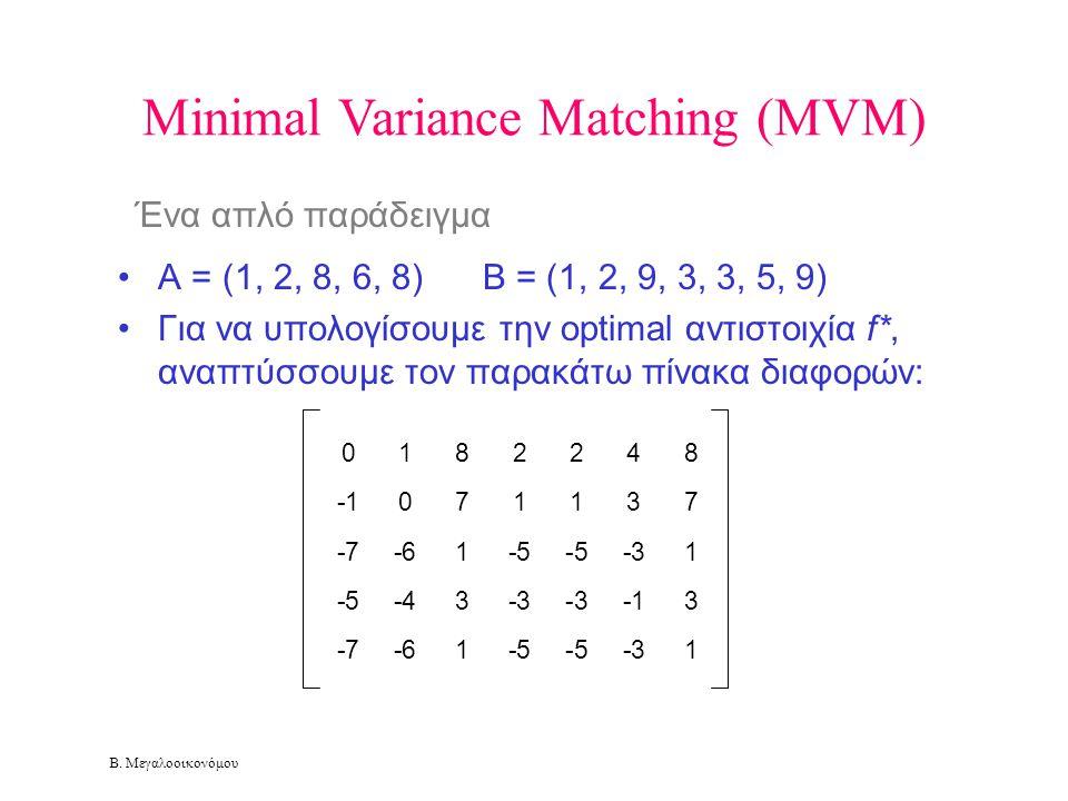 Β. Μεγαλοοικονόμου Minimal Variance Matching (MVM) Ένα απλό παράδειγμα •A = (1, 2, 8, 6, 8) B = (1, 2, 9, 3, 3, 5, 9) •Για να υπολογίσουμε την optimal