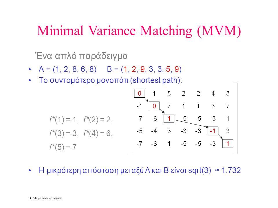 Β. Μεγαλοοικονόμου Minimal Variance Matching (MVM) •A = (1, 2, 8, 6, 8) B = (1, 2, 9, 3, 3, 5, 9) •To συντομότερο μονοπάτι (shortest path): •H μικρότε