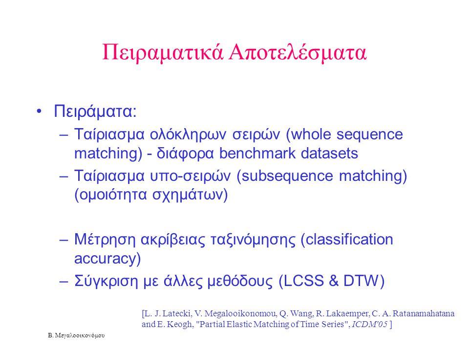 Β. Μεγαλοοικονόμου •Πειράματα: –Ταίριασμα ολόκληρων σειρών (whole sequence matching) - διάφορα benchmark datasets –Ταίριασμα υπο-σειρών (subsequence m