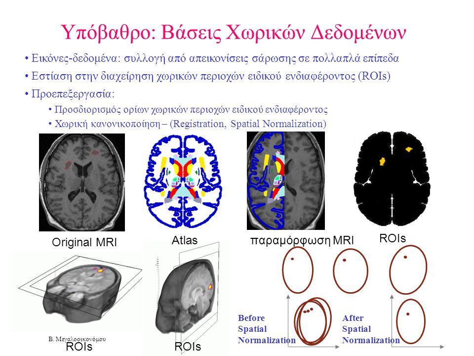 Β. Μεγαλοοικονόμου Υπόβαθρο: Βάσεις Χωρικών Δεδομένων • Εικόνες-δεδομένα: συλλογή από απεικονίσεις σάρωσης σε πολλαπλά επίπεδα • Εστίαση στην διαχείρη