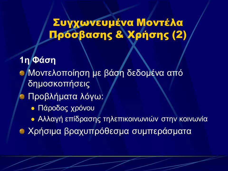 Συγχωνευμένα Μοντέλα Πρόσβασης & Χρήσης (2) 1η Φάση Μοντελοποίηση με βάση δεδομένα από δημοσκοπήσεις Προβλήματα λόγω:  Πάροδος χρόνου  Αλλαγή επίδρασης τηλεπικοινωνιών στην κοινωνία Χρήσιμα βραχυπρόθεσμα συμπεράσματα