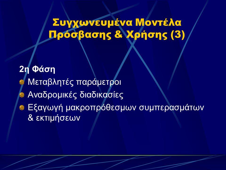 Συγχωνευμένα Μοντέλα Πρόσβασης & Χρήσης (3) 2η Φάση Μεταβλητές παράμετροι Αναδρομικές διαδικασίες Εξαγωγή μακροπρόθεσμων συμπερασμάτων & εκτιμήσεων