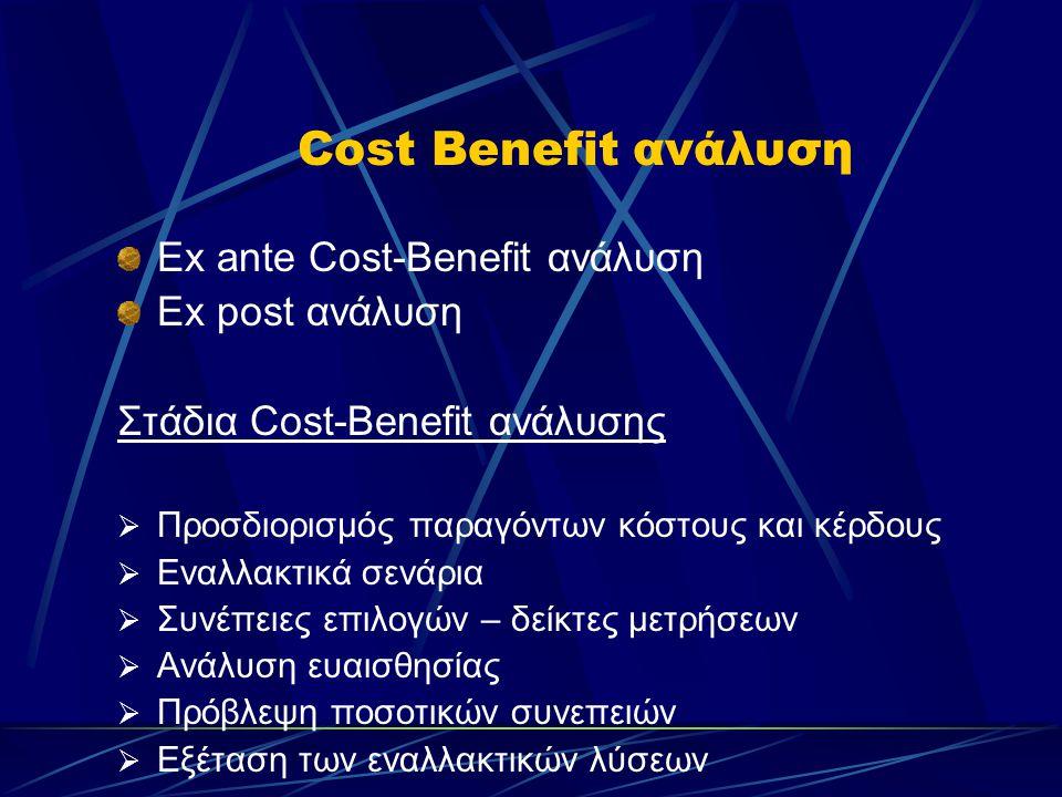 Cost Benefit ανάλυση Ex ante Cost-Benefit ανάλυση Ex post ανάλυση Στάδια Cost-Benefit ανάλυσης  Προσδιορισμός παραγόντων κόστους και κέρδους  Εναλλακτικά σενάρια  Συνέπειες επιλογών – δείκτες μετρήσεων  Ανάλυση ευαισθησίας  Πρόβλεψη ποσοτικών συνεπειών  Εξέταση των εναλλακτικών λύσεων