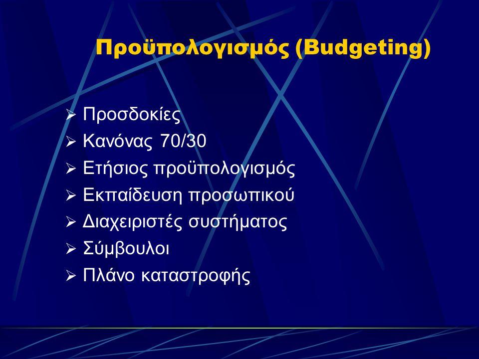 Προϋπολογισμός (Budgeting)  Προσδοκίες  Κανόνας 70/30  Ετήσιος προϋπολογισμός  Εκπαίδευση προσωπικού  Διαχειριστές συστήματος  Σύμβουλοι  Πλάνο καταστροφής