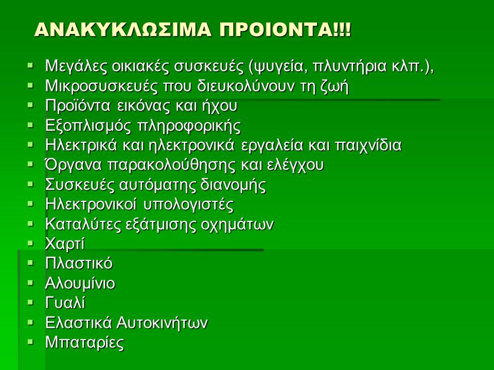ΑΝΑΚΥΚΛΩΣΙΜΑ ΠΡΟΙΟΝΤΑ!!.