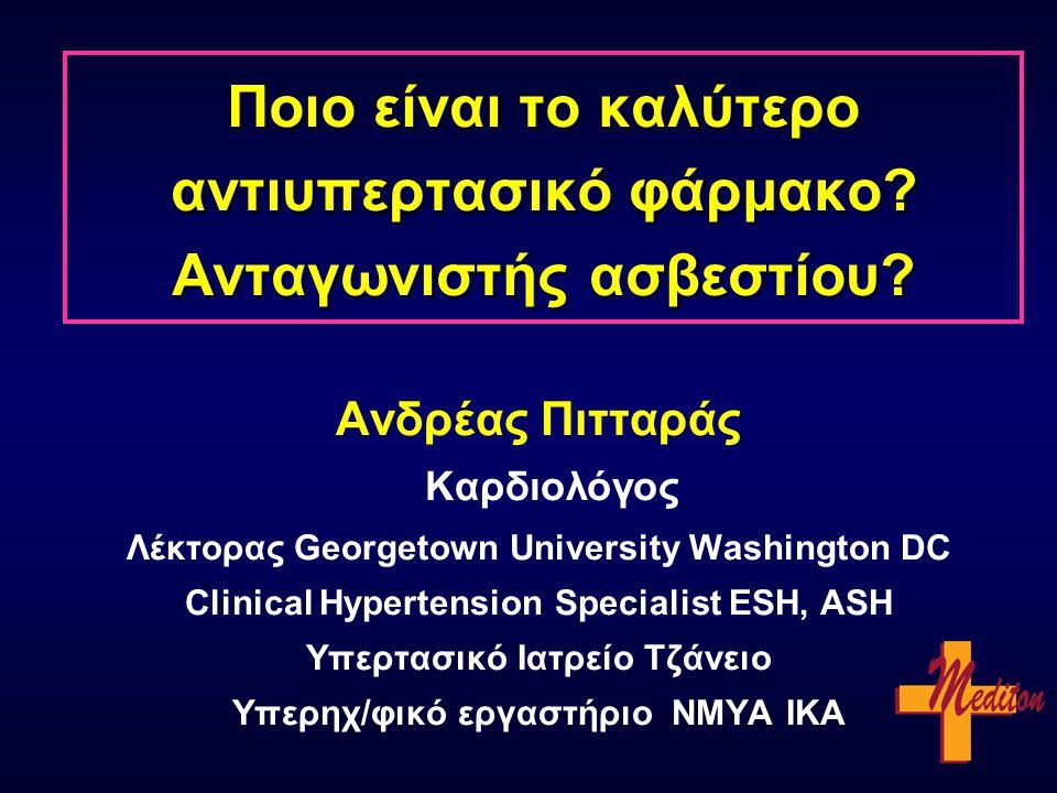 Μακροπρόθεσμη ασφάλεια Νιφεδιπίνης * fatal or life-threatening or disabling or resulting in hospitalisation or prolongation of hospitalisation Nifedipine GITS Hydrochloro- thiazide & Amiloride Nifedipine GITS Hydrochloro- thiazide & Amiloride Σοβαρές παρενέργειες *Συνολική θνησιμότητα 0 2 4 6 8 10 4.8 4.8 % 0 20 30 40 50 25 28 % p = 0.02 p = 0.95