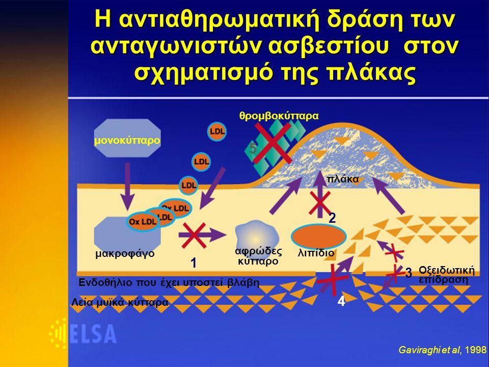 μονοκύτταρο Ενδοθήλιο που έχει υποστεί βλάβη μακροφάγο αφρώδες κύτταρο λιπίδιο θρομβοκύτταρα πλάκα Οξειδωτική επίδραση 1 2 3 Η αντιαθηρωματική δράση των ανταγωνιστών ασβεστίου στον σχηματισμό της πλάκας Λεία μυϊκά κύτταρα 4 Gaviraghi et al, 1998 5