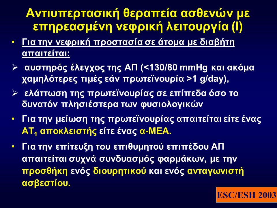 Αντιυπερτασική θεραπεία ασθενών με επηρεασμένη νεφρική λειτουργία (I) •Για την νεφρική προστασία σε άτομα με διαβήτη απαιτείται:  αυστηρός έλεγχος της ΑΠ ( 1 g/day),  ελάττωση της πρωτεϊνουρίας σε επίπεδα όσο το δυνατόν πλησιέστερα των φυσιολογικών •Για την μείωση της πρωτεϊνουρίας απαιτείται είτε ένας ΑΤ 1 αποκλειστής είτε ένας α-ΜΕΑ.