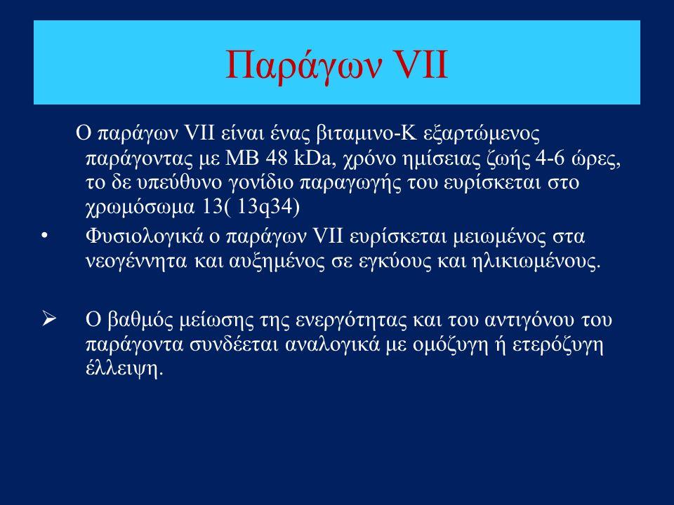 Παράγων VΙΙ Ο παράγων VΙΙ είναι ένας βιταμινο-Κ εξαρτώμενος παράγοντας με ΜΒ 48 kDa, χρόνο ημίσειας ζωής 4-6 ώρες, το δε υπεύθυνο γονίδιο παραγωγής το