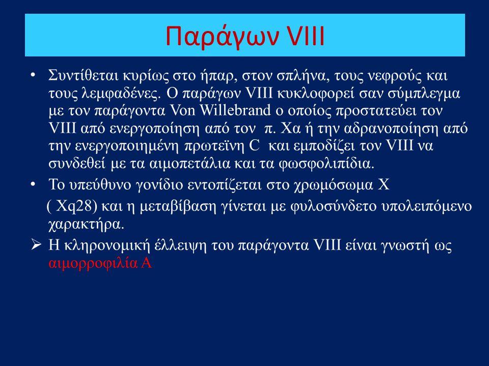 Παράγων VIII • Συντίθεται κυρίως στο ήπαρ, στον σπλήνα, τους νεφρούς και τους λεμφαδένες. Ο παράγων VIII κυκλοφορεί σαν σύμπλεγμα με τον παράγοντα Von