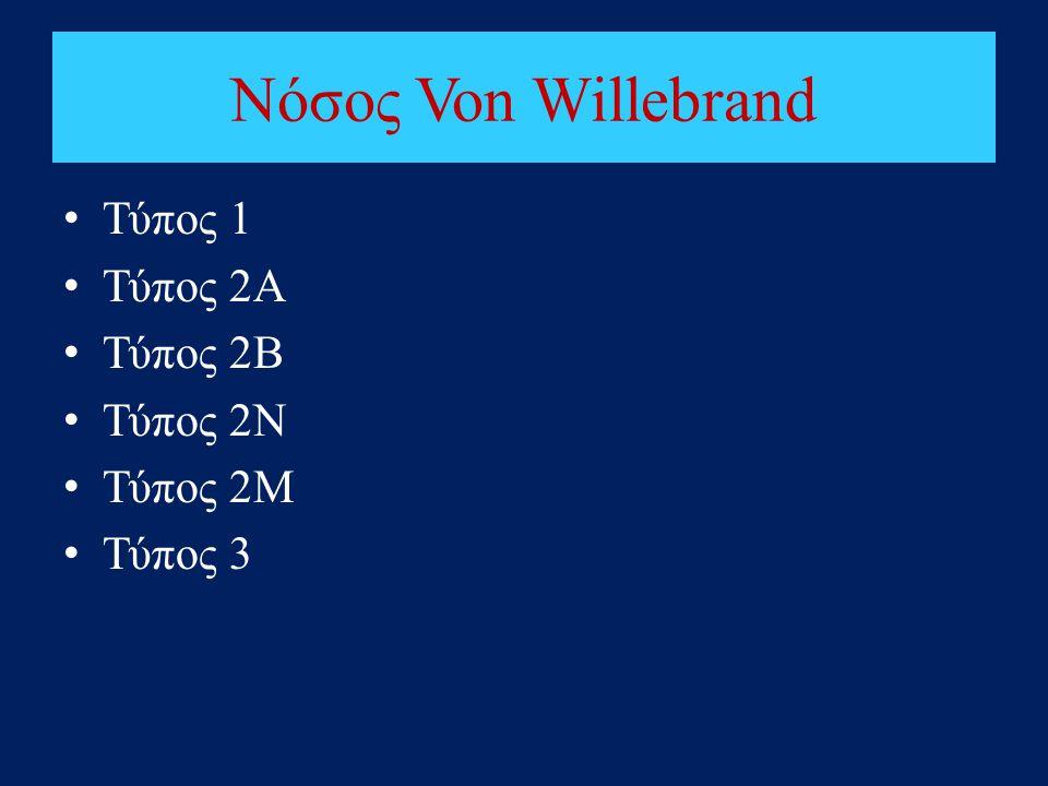 Νόσος Von Willebrand • Τύπος 1 • Τύπος 2Α • Τύπος 2Β • Τύπος 2Ν • Τύπος 2M • Τύπος 3