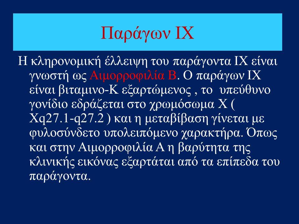 Παράγων ΙΧ Η κληρονομική έλλειψη του παράγοντα ΙΧ είναι γνωστή ως Αιμορροφιλία Β. Ο παράγων ΙΧ είναι βιταμινο-Κ εξαρτώμενος, το υπεύθυνο γονίδιο εδράζ