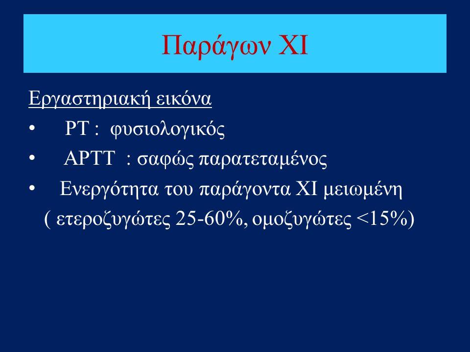 Παράγων ΧΙ Εργαστηριακή εικόνα • ΡΤ : φυσιολογικός • ΑΡΤΤ : σαφώς παρατεταμένος • Ενεργότητα του παράγοντα ΧΙ μειωμένη ( ετεροζυγώτες 25-60%, ομοζυγώτ
