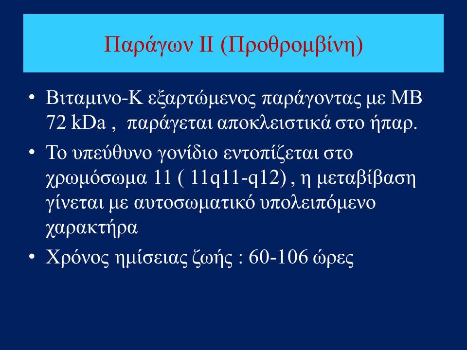Παράγων II (Προθρομβίνη) • Βιταμινο-Κ εξαρτώμενος παράγοντας με ΜΒ 72 kDa, παράγεται αποκλειστικά στο ήπαρ. • Το υπεύθυνο γονίδιο εντοπίζεται στο χρωμ