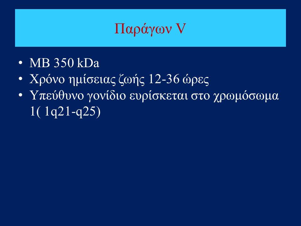 Παράγων V • ΜΒ 350 kDa • Χρόνο ημίσειας ζωής 12-36 ώρες • Υπεύθυνο γονίδιο ευρίσκεται στο χρωμόσωμα 1( 1q21-q25)