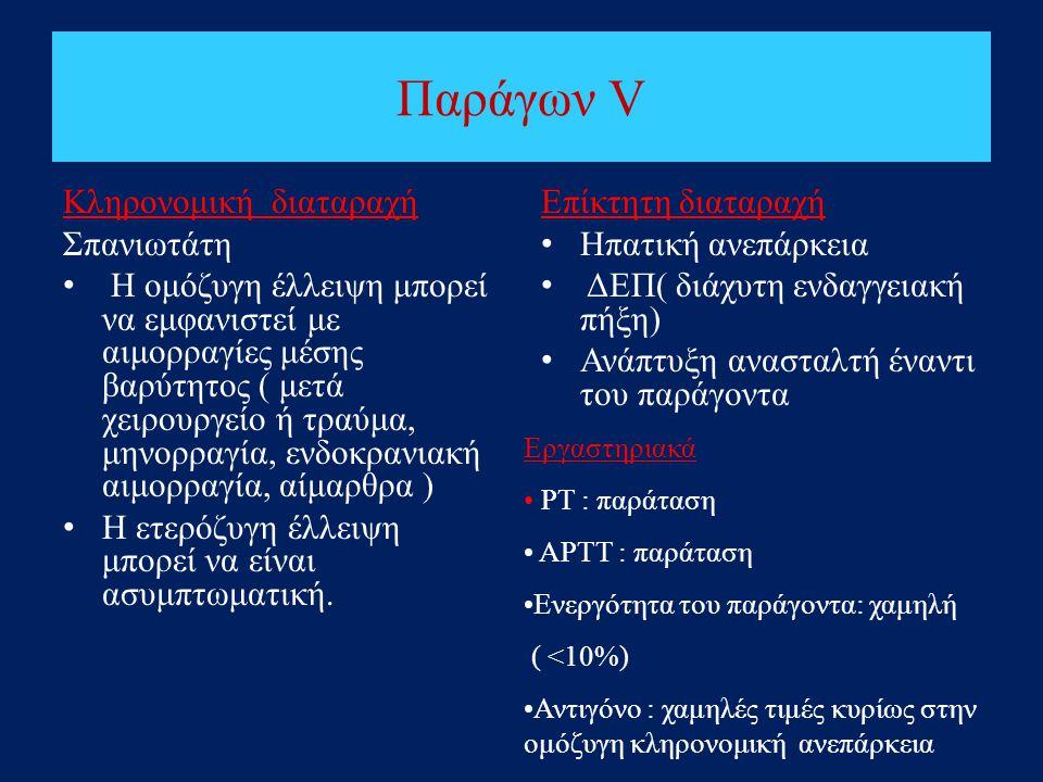 Παράγων V Κληρονομική διαταραχή Σπανιωτάτη • Η ομόζυγη έλλειψη μπορεί να εμφανιστεί με αιμορραγίες μέσης βαρύτητος ( μετά χειρουργείο ή τραύμα, μηνορρ