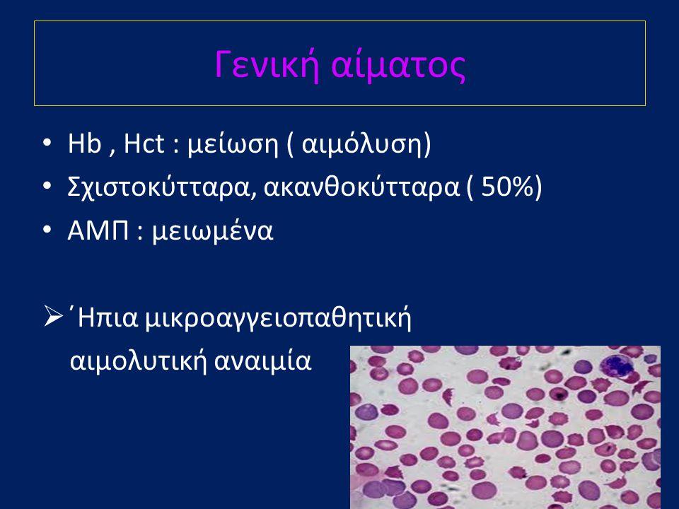 Γενική αίματος • Hb, Hct : μείωση ( αιμόλυση) • Σχιστοκύτταρα, ακανθοκύτταρα ( 50%) • ΑΜΠ : μειωμένα  ΄Ηπια μικροαγγειοπαθητική αιμολυτική αναιμία