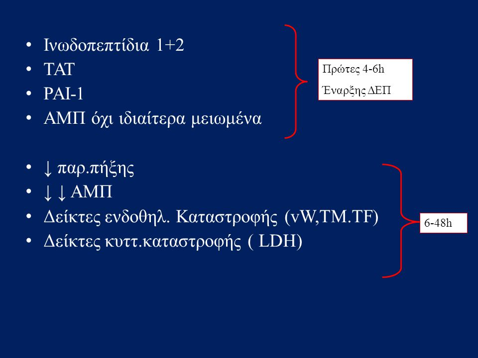 • Ινωδοπεπτίδια 1+2 • ΤΑΤ • ΡΑΙ-1 • ΑΜΠ όχι ιδιαίτερα μειωμένα • ↓ παρ.πήξης • ↓ ↓ ΑΜΠ • Δείκτες ενδοθηλ. Καταστροφής (vW,TM.TF) • Δείκτες κυττ.καταστ