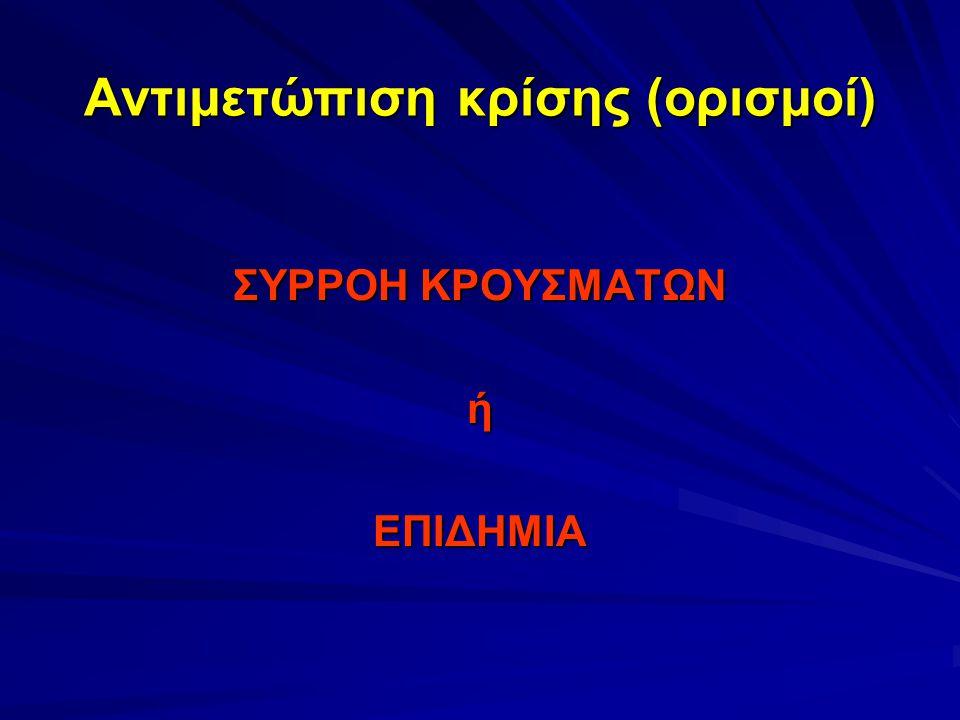 Αντιμετώπιση κρίσης (ορισμοί) ΣΥΡΡΟΗ ΚΡΟΥΣΜΑΤΩΝ ήΕΠΙΔΗΜΙΑ