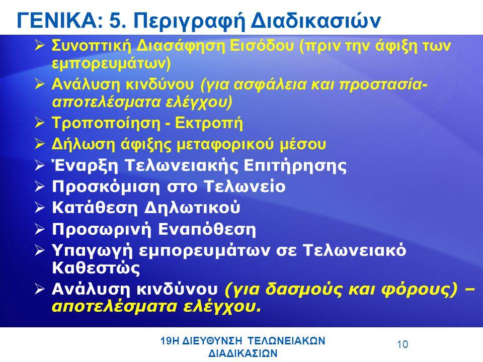 10  Συνοπτική Διασάφηση Εισόδου (πριν την άφιξη των εμπορευμάτων)  Ανάλυση κινδύνου (για ασφάλεια και προστασία- αποτελέσματα ελέγχου)  Τροποποίηση - Εκτροπή  Δήλωση άφιξης μεταφορικού μέσου  Έναρξη Τελωνειακής Επιτήρησης  Προσκόμιση στο Τελωνείο  Κατάθεση Δηλωτικού  Προσωρινή Εναπόθεση  Υπαγωγή εμπορευμάτων σε Τελωνειακό Καθεστώς  Ανάλυση κινδύνου (για δασμούς και φόρους) – αποτελέσματα ελέγχου.