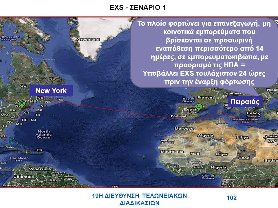 EXS - ΣΕΝΑΡΙΟ 1 Το πλοίο φορτώνει για επανεξαγωγή, μη κοινοτικά εμπορεύματα που βρίσκονται σε προσωρινή εναπόθεση περισσότερο από 14 ημέρες, σε εμπορευματοκιβώτια, με προορισμό τις ΗΠΑ = Υποβάλλει ΕΧS τουλάχιστον 24 ώρες πριν την έναρξη φόρτωσης 102 19Η ΔΙΕΥΘΥΝΣΗ ΤΕΛΩΝΕΙΑΚΩΝ ΔΙΑΔΙΚΑΣΙΩΝ Πειραιάς New York