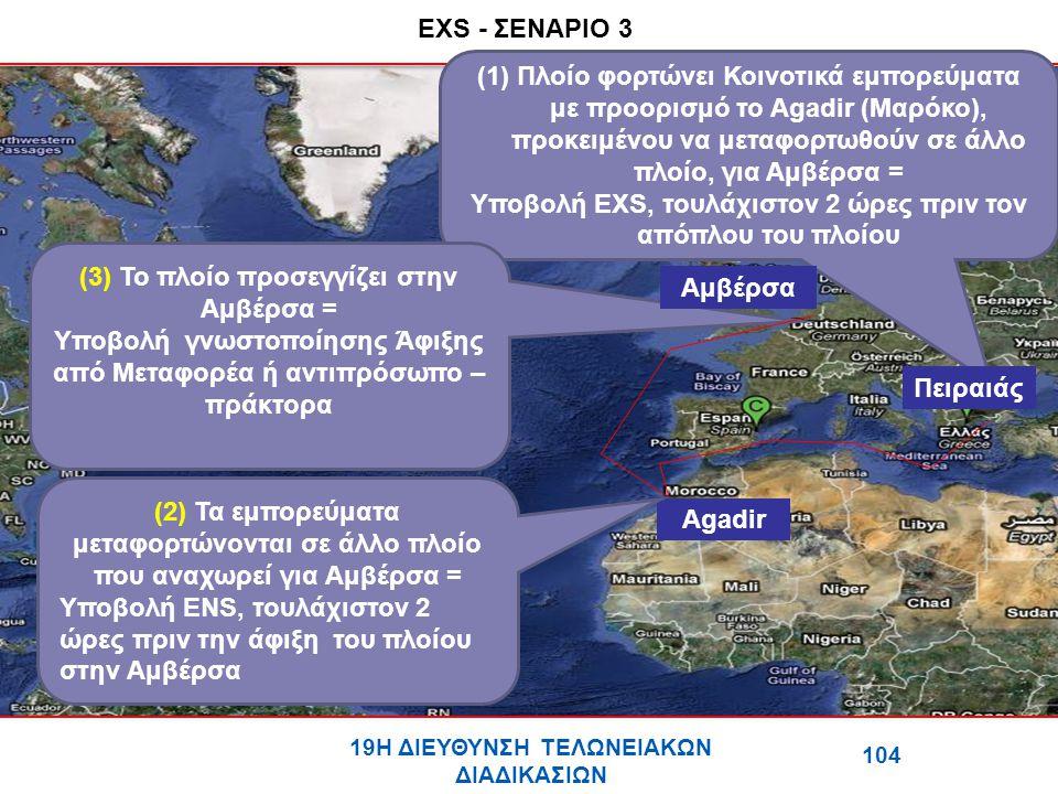 EXS - ΣΕΝΑΡΙΟ 3 (1)Πλοίο φορτώνει Κοινοτικά εμπορεύματα με προορισμό το Agadir (Μαρόκο), προκειμένου να μεταφορτωθούν σε άλλο πλοίο, για Αμβέρσα = Υποβολή ΕΧS, τουλάχιστον 2 ώρες πριν τον απόπλου του πλοίου (3) Το πλοίο προσεγγίζει στην Αμβέρσα = Υποβολή γνωστοποίησης Άφιξης από Μεταφορέα ή αντιπρόσωπο – πράκτορα 104 19Η ΔΙΕΥΘΥΝΣΗ ΤΕΛΩΝΕΙΑΚΩΝ ΔΙΑΔΙΚΑΣΙΩΝ Πειραιάς Agadir Αμβέρσα (2) Τα εμπορεύματα μεταφορτώνονται σε άλλο πλοίο που αναχωρεί για Αμβέρσα = Υποβολή ΕΝS, τουλάχιστον 2 ώρες πριν την άφιξη του πλοίου στην Αμβέρσα