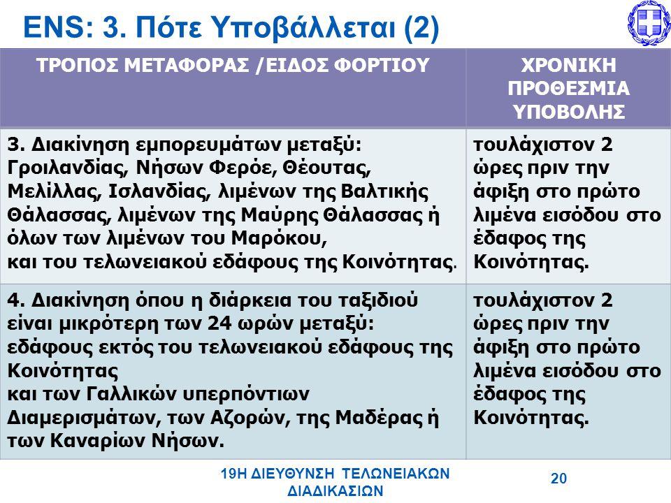 ΤΡΟΠΟΣ ΜΕΤΑΦΟΡΑΣ /ΕΙΔΟΣ ΦΟΡΤΙΟΥΧΡΟΝΙΚΗ ΠΡΟΘΕΣΜΙΑ ΥΠΟΒΟΛΗΣ 3.