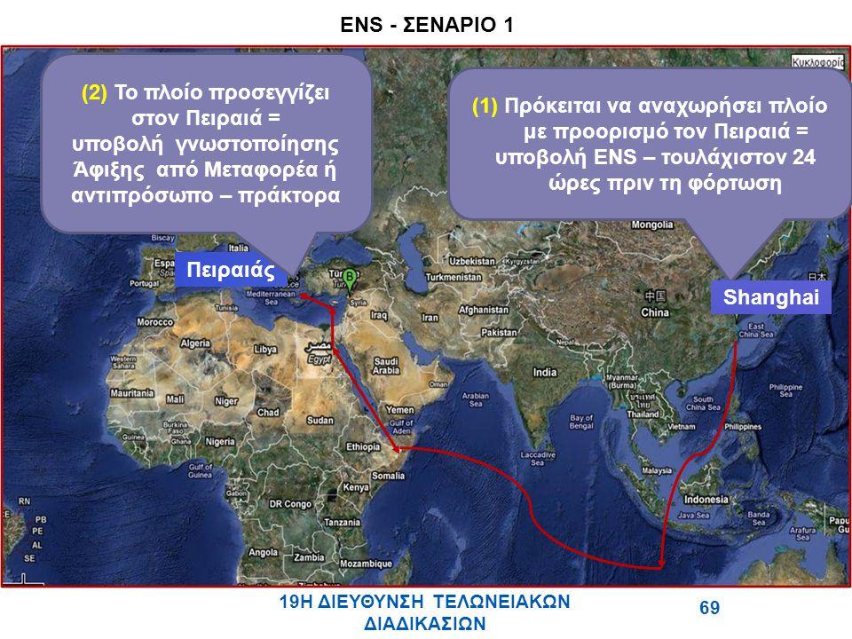 (1) Πρόκειται να αναχωρήσει πλοίο με προορισμό τον Πειραιά = υποβολή ENS – τουλάχιστον 24 ώρες πριν τη φόρτωση Shanghai Πειραιάς (2) Το πλοίο προσεγγίζει στον Πειραιά = υποβολή γνωστοποίησης Άφιξης από Μεταφορέα ή αντιπρόσωπο – πράκτορα ΣΕΝΑΡΙΟ 1 ENS - ΣΕΝΑΡΙΟ 1 19Η ΔΙΕΥΘΥΝΣΗ ΤΕΛΩΝΕΙΑΚΩΝ ΔΙΑΔΙΚΑΣΙΩΝ 69