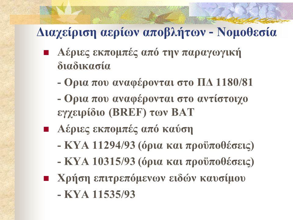 Διαχείριση αερίων αποβλήτων - Νομοθεσία  Αέριες εκπομπές από την παραγωγική διαδικασία - Ορια που αναφέρονται στο ΠΔ 1180/81 - Ορια που αναφέρονται στo αντίστοιχo εγχειρίδιo (BREF) των ΒΑΤ  Αέριες εκπομπές από καύση - ΚΥΑ 11294/93 (όρια και προϋποθέσεις) - ΚΥΑ 10315/93 (όρια και προϋποθέσεις)  Χρήση επιτρεπόμενων ειδών καυσίμου - ΚΥΑ 11535/93