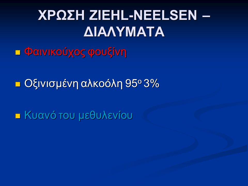 ΧΡΩΣΗ ZIEHL-NEELSEN – ΔΙΑΛΥΜΑΤΑ  Φαινικούχος φουξίνη  Οξινισμένη αλκοόλη 95 o 3%  Κυανό του μεθυλενίου