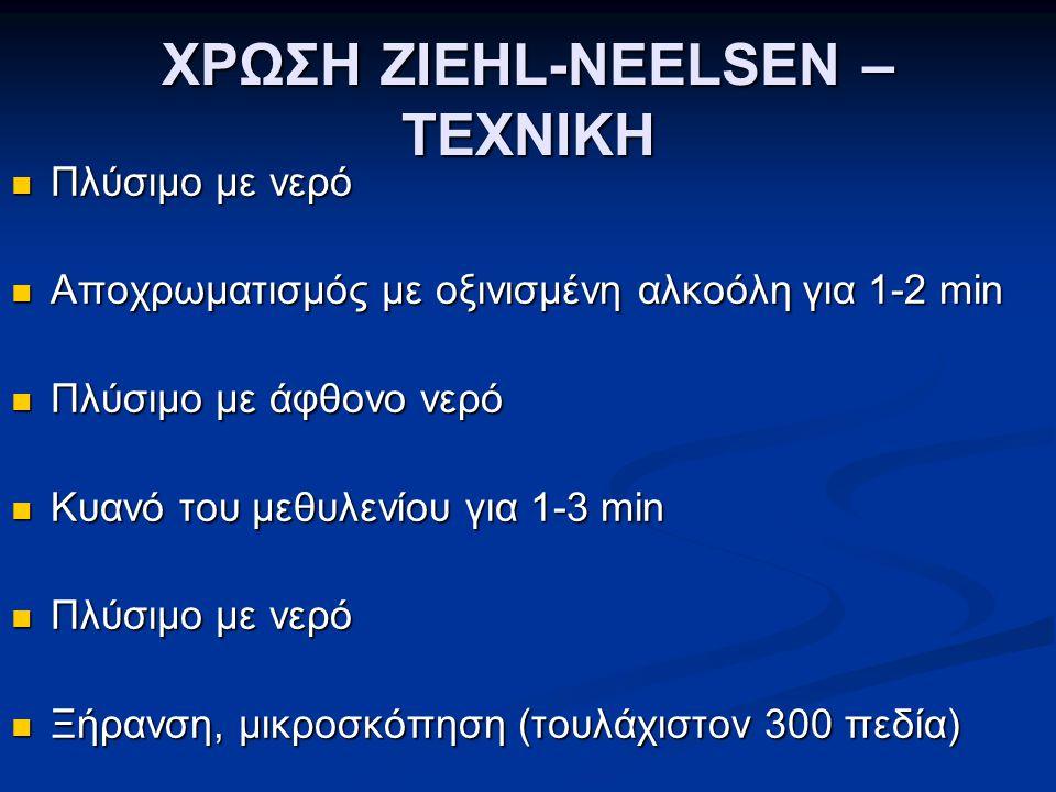 ΧΡΩΣΗ ZIEHL-NEELSEN – ΤΕΧΝΙΚΗ  Πλύσιμο με νερό  Αποχρωματισμός με οξινισμένη αλκοόλη για 1-2 min  Πλύσιμο με άφθονο νερό  Κυανό του μεθυλενίου για