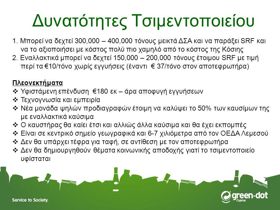 Δυνατότητες Τσιμεντοποιείου 1. Μπορεί να δεχτεί 300,000 – 400,000 τόνους μεικτά ΔΣΑ και να παράξει SRF και να το αξιοποιήσει με κόστος πολύ πιο χαμηλό