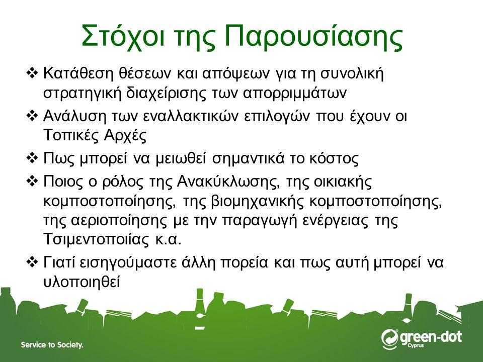 Διαχείριση Δημοτικών Στερεών Απορριμμάτων στην Κύπρο – η Ιστορία 1993 – 1999 Πρώτη στρατηγική για τη διαχείριση των απορριμμάτων (Carl Bro, Δανίας) - Η εποχή του ΧΥΤΑ – Πρότειναν αρχικά 1 κεντρικό ΧΥΤΑ και μετά από συζήτηση με τοπικούς κυβερνητικούς παράγοντες, πρότειναν 4, ένα σε κάθε επαρχία – Κάθε ΧΥΤΑ με την τότε τεχνολογία ήθελε επένδυση 10 – 15 εκ ευρώ 2003 – 2004 Επικαιροποίηση της Στρατηγικής από το ΕΜΠ και υιοθέτηση της από το Υπουργικό Συμβούλιο – δέσμευση προς την Ε.Ε.