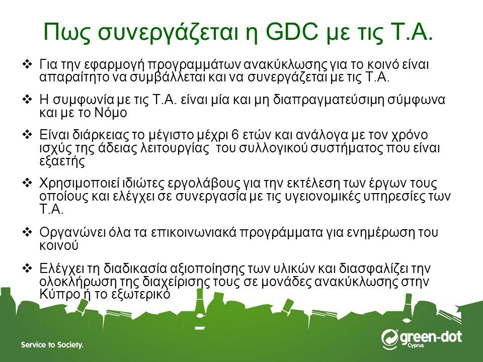 Πως συνεργάζεται η GDC με τις T.A.  Για την εφαρμογή προγραμμάτων ανακύκλωσης για το κοινό είναι απαραίτητο να συμβάλλεται και να συνεργάζεται με τις