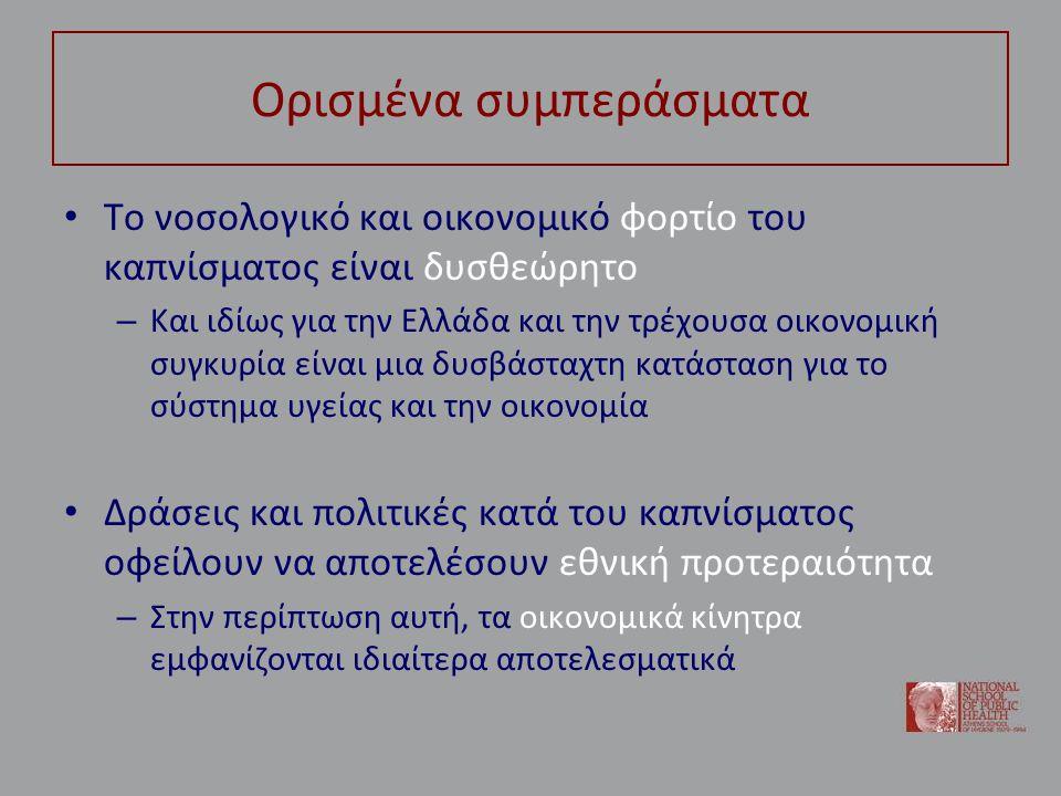 Ορισμένα συμπεράσματα • Το νοσολογικό και οικονομικό φορτίο του καπνίσματος είναι δυσθεώρητο – Και ιδίως για την Ελλάδα και την τρέχουσα οικονομική συ