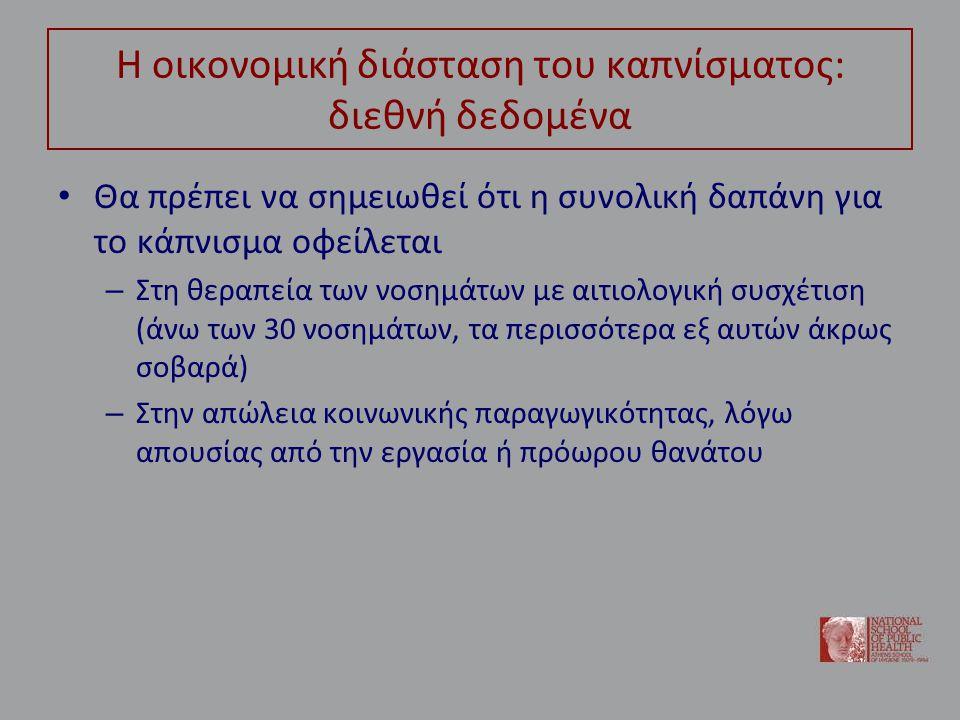 Ορισμένα συμπεράσματα • Το νοσολογικό και οικονομικό φορτίο του καπνίσματος είναι δυσθεώρητο – Και ιδίως για την Ελλάδα και την τρέχουσα οικονομική συγκυρία είναι μια δυσβάσταχτη κατάσταση για το σύστημα υγείας και την οικονομία • Δράσεις και πολιτικές κατά του καπνίσματος οφείλουν να αποτελέσουν εθνική προτεραιότητα – Στην περίπτωση αυτή, τα οικονομικά κίνητρα εμφανίζονται ιδιαίτερα αποτελεσματικά