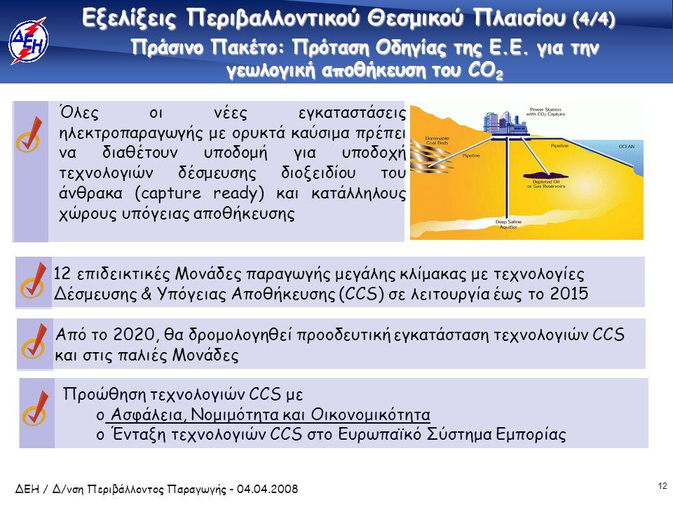 12 ΔΕΗ / Δ/νση Περιβάλλοντος Παραγωγής - 04.04.2008 Πράσινο Πακέτο: Πρόταση Οδηγίας της Ε.Ε. για την γεωλογική αποθήκευση του CO 2 Προώθηση τεχνολογιώ