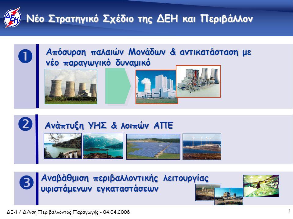 1 ΔΕΗ / Δ/νση Περιβάλλοντος Παραγωγής - 04.04.2008 Νέο Στρατηγικό Σχέδιο της ΔΕΗ και Περιβάλλον Απόσυρση παλαιών Μονάδων & αντικατάσταση με νέο παραγω