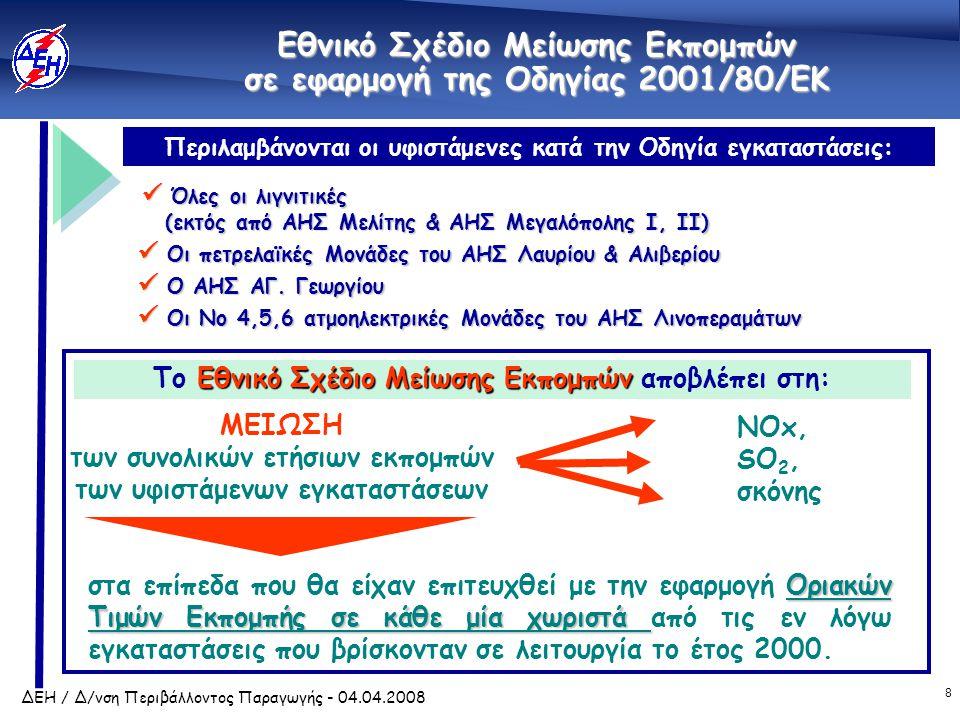 8 ΔΕΗ / Δ/νση Περιβάλλοντος Παραγωγής - 04.04.2008 Εθνικό Σχέδιο Μείωσης Εκπομπών σε εφαρμογή της Οδηγίας 2001/80/ΕΚ  Όλες οι λιγνιτικές (εκτός από ΑΗΣ Μελίτης & ΑΗΣ Μεγαλόπολης I, II) (εκτός από ΑΗΣ Μελίτης & ΑΗΣ Μεγαλόπολης I, II)  Οι πετρελαϊκές Μονάδες του ΑΗΣ Λαυρίου & Αλιβερίου  Ο ΑΗΣ ΑΓ.